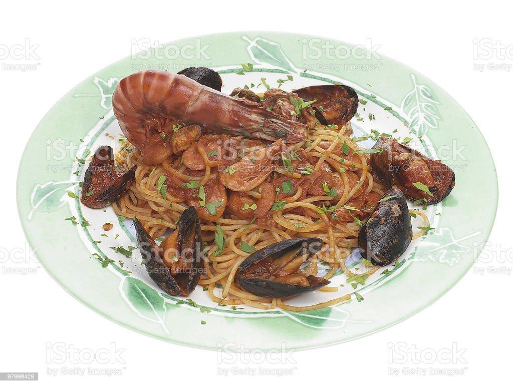 Spaghetti allo scoglio royalty free stockfoto