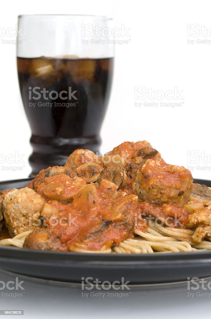 Spaghetti and Cola royalty-free stock photo