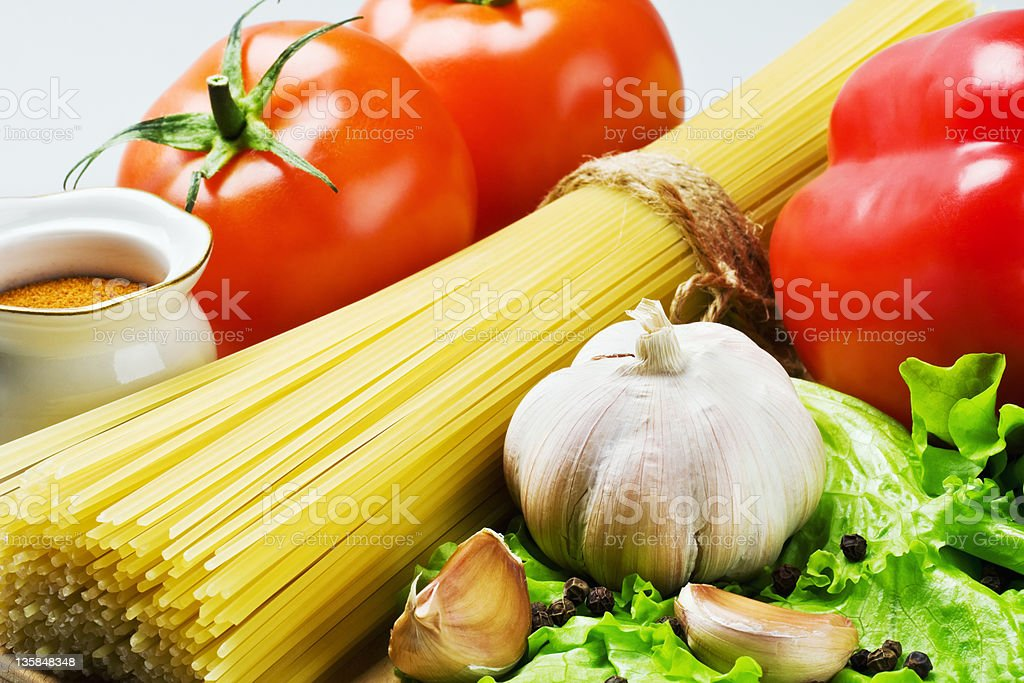 spaghetti and fresh vegetables royalty-free stock photo