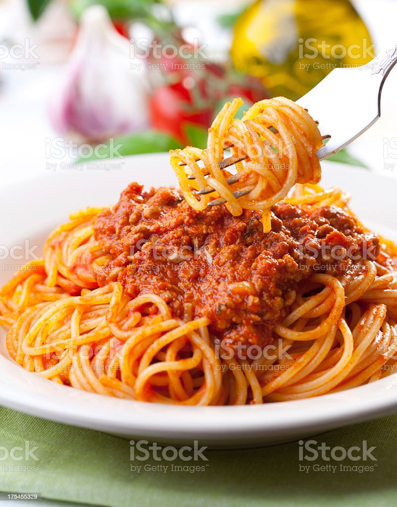 Spaghetti and meat sauce with no meatballs stock photo