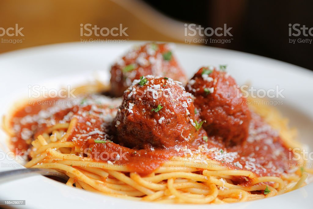 Spaghetti and Meatballs Spaghetti and Meatballs Color Image Stock Photo