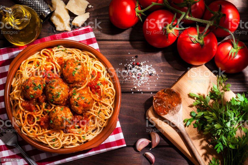Spaghetti et boulettes de viande - Photo