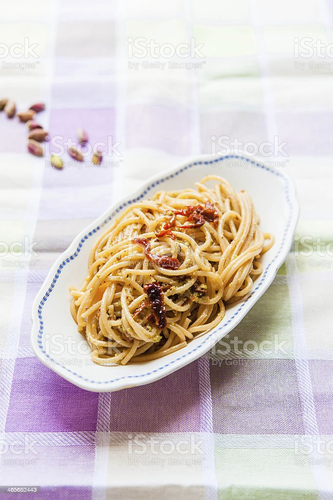 Spaghetti and Pistachio Pesto royalty-free stock photo