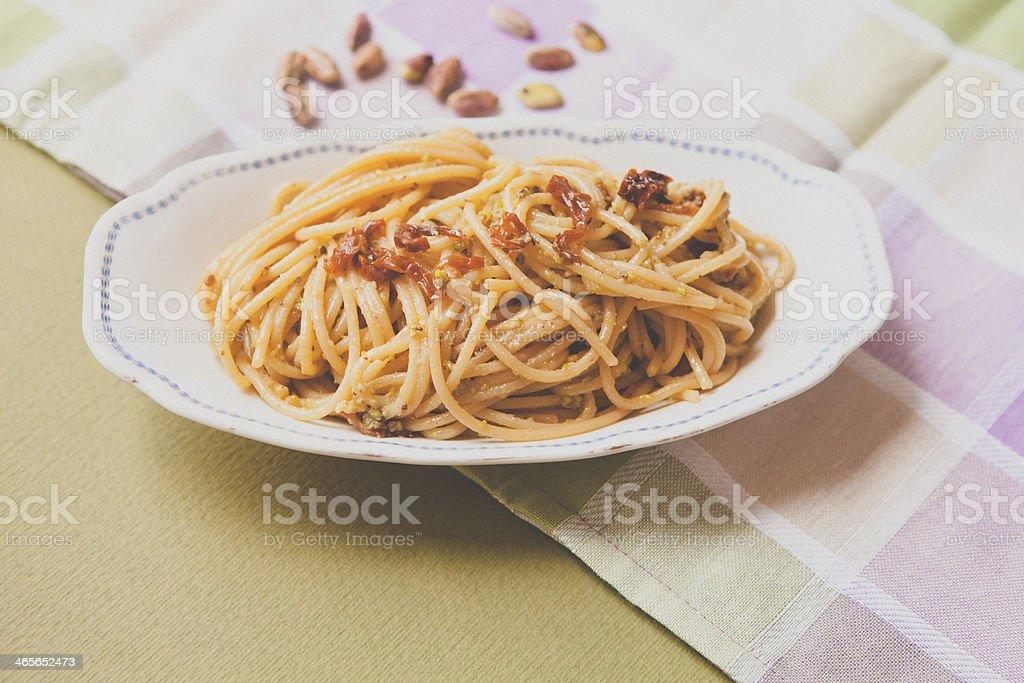 Spaghetti and Pistachio Pesto royalty-free stock photo