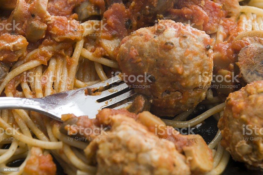 Spaghetti and Turkey Meatballs royalty-free stock photo