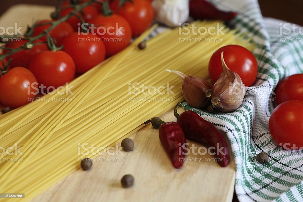 spaghetti and vegetables royalty-free stock photo
