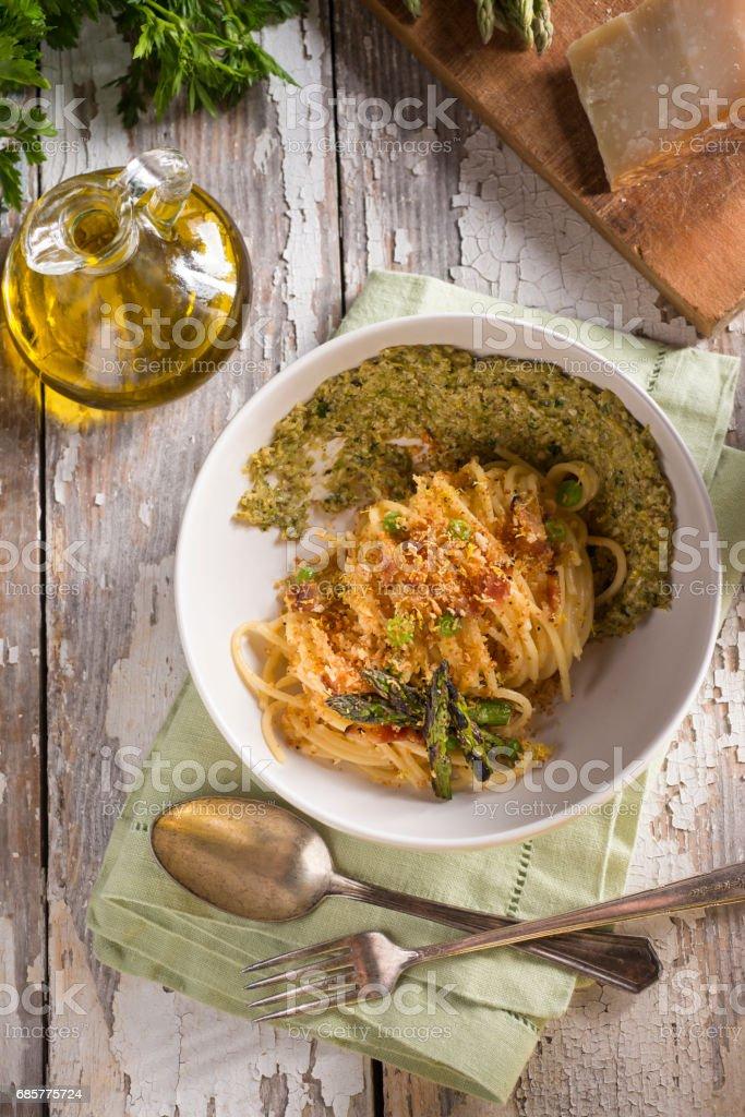 Spaghetti Asparagus Pesto royalty-free stock photo