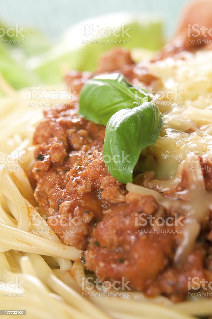 Spaghetti Bolognese close up. royalty-free stock photo