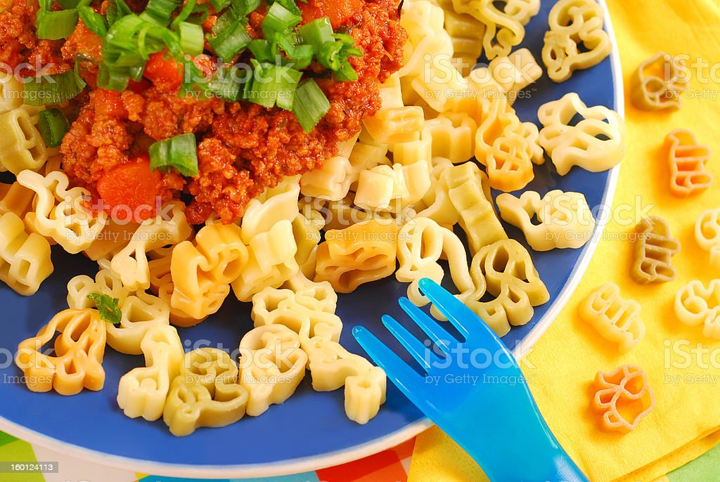 spaghetti bolognese for child royalty-free stock photo