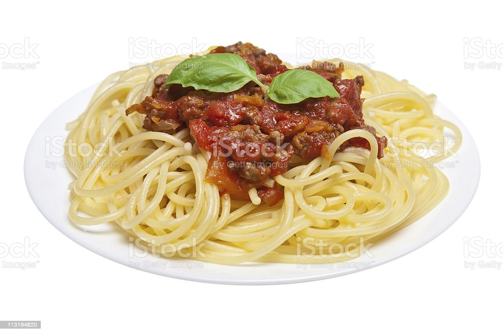 spaghetti bolognese isolated stock photo