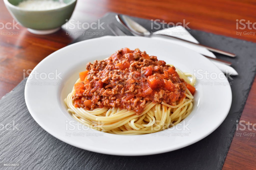 Spaghetti Bolognese on a white plate stock photo