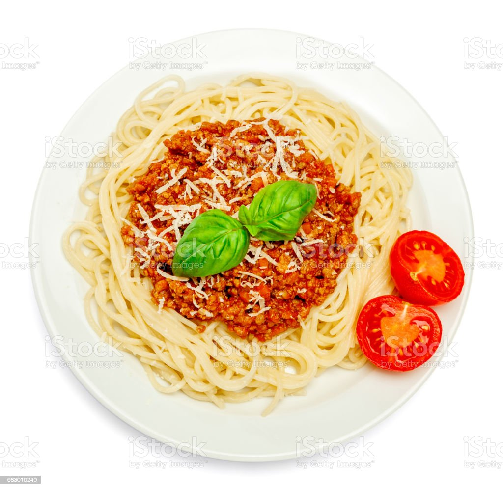 Spaghetti bolognese on a white plate royalty-free stock photo