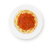 Spaghetti bolognese on plate isolated on white (excluding the shadow)
