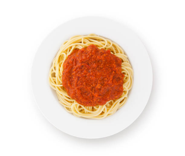 Spaghetti Bolognese on Plate Spaghetti bolognese on plate isolated on white (excluding the shadow) spaghetti stock pictures, royalty-free photos & images