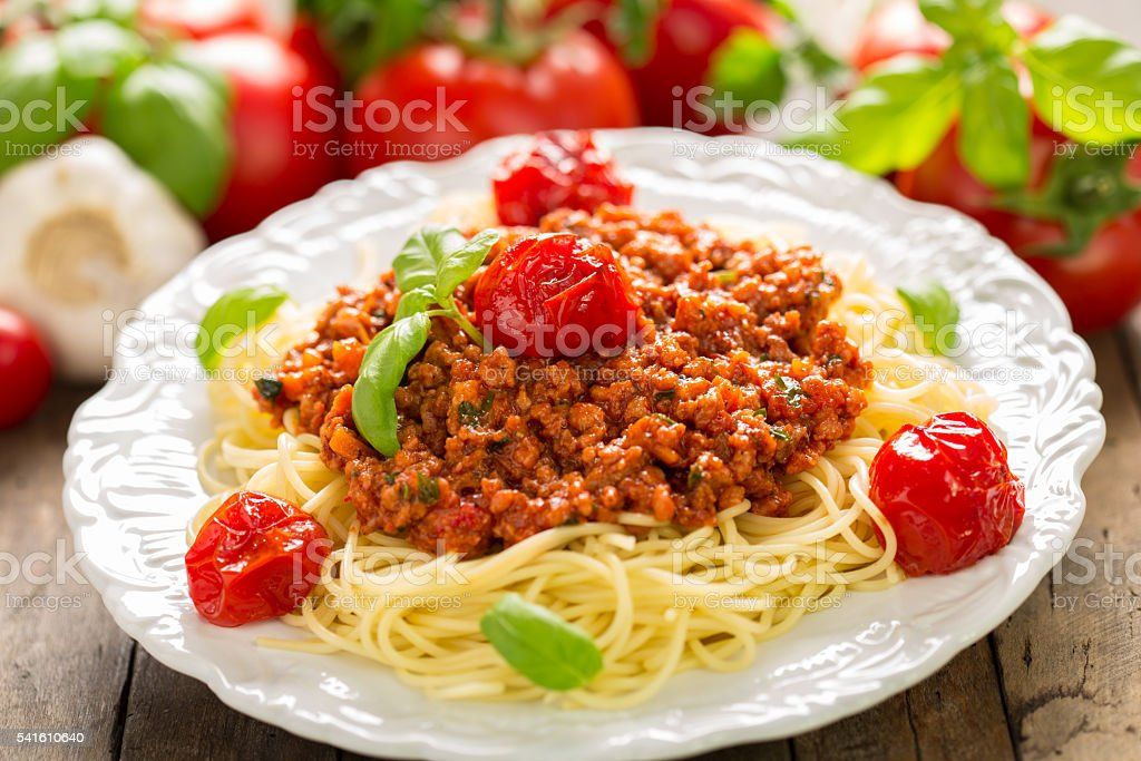 Spaghetti bolognese on the plate stock photo