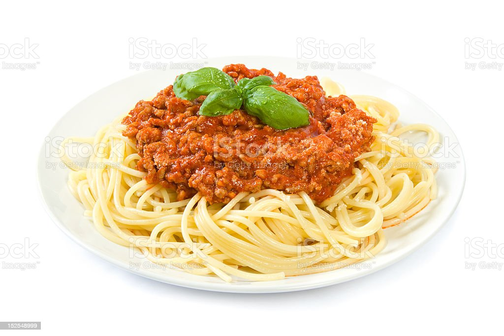 Spaghetti bolognese on white stock photo