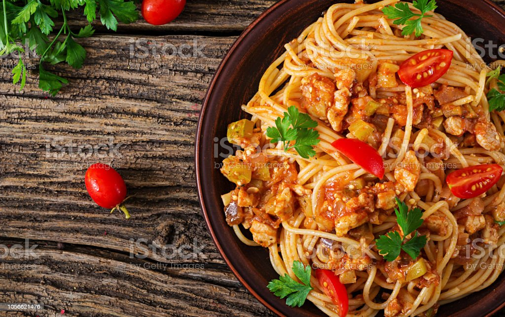 Spaghetti Bolognese Pasta With Tomato Sauce Vegetables And