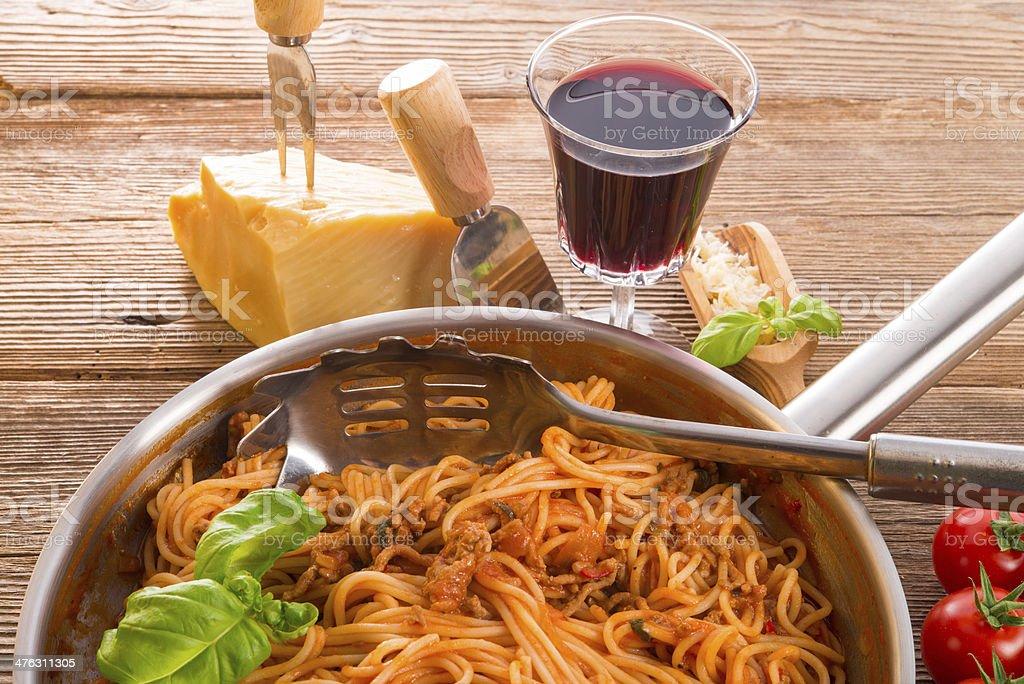 spaghetti bolognese stock photo