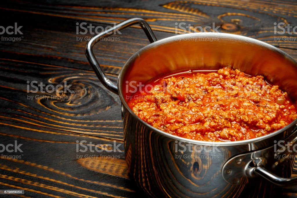 Spaghetti bolognese sauce on a pan stock photo