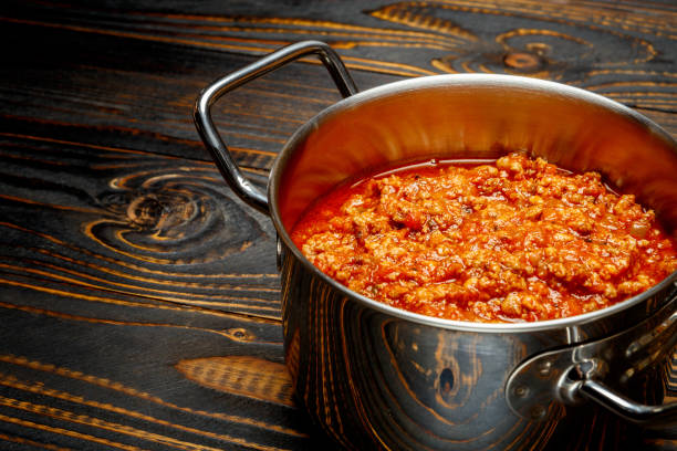 Spaghetti bolognese sauce on a pan stock photo
