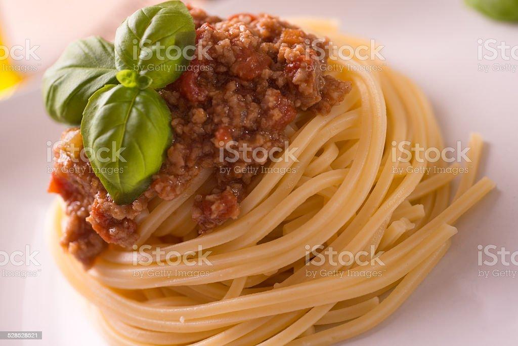 Spaghetti bolognese vegan stock photo
