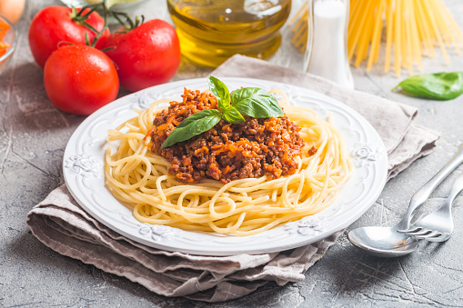 Spaghetti Bolognese With Ingredients Stock Photo - Download Image Now