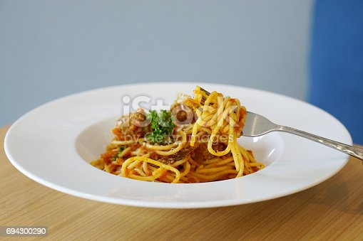 istock Spaghetti Bolognese with meatballs and tomato sauce. 694300290