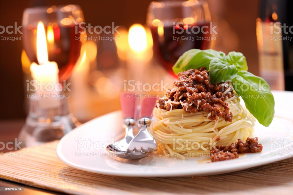 Spaghetti bolognese with parmesan cheese royalty-free stock photo