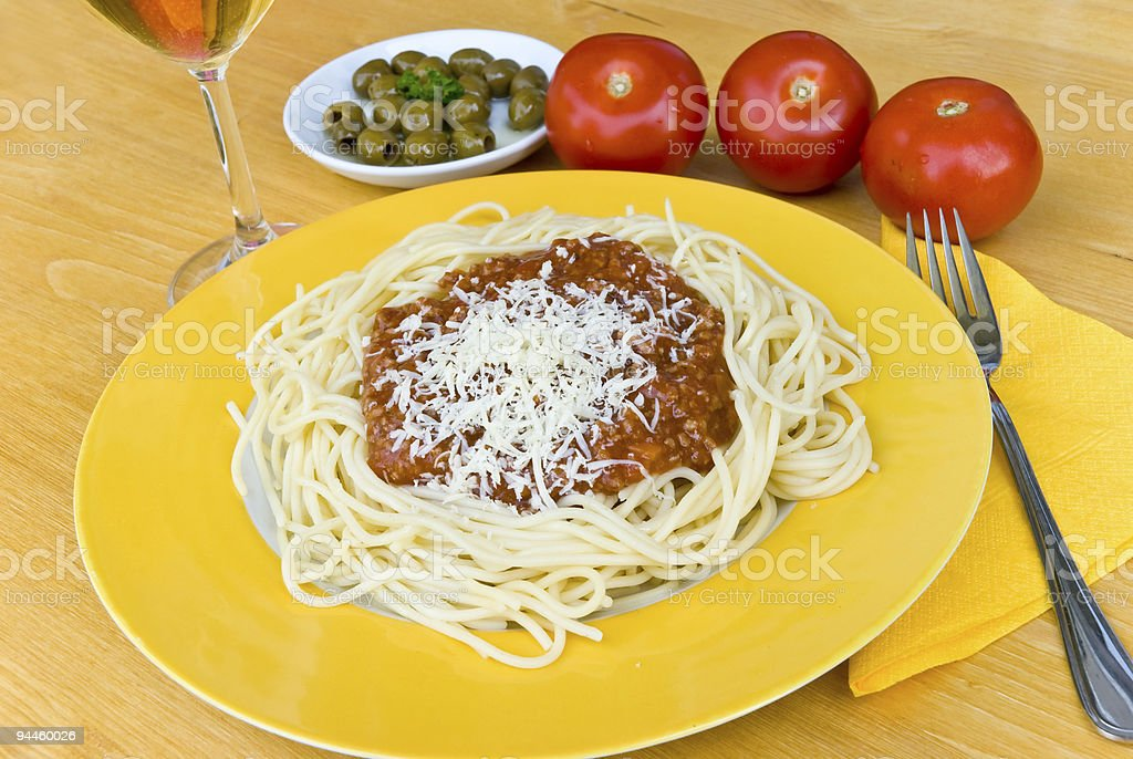spaghetti bolognese with red wine royalty-free stock photo