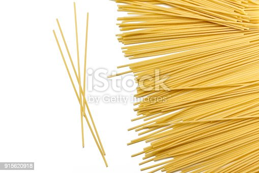 Spaghetti bucatini pasta Durum wheat made, isolated on white background