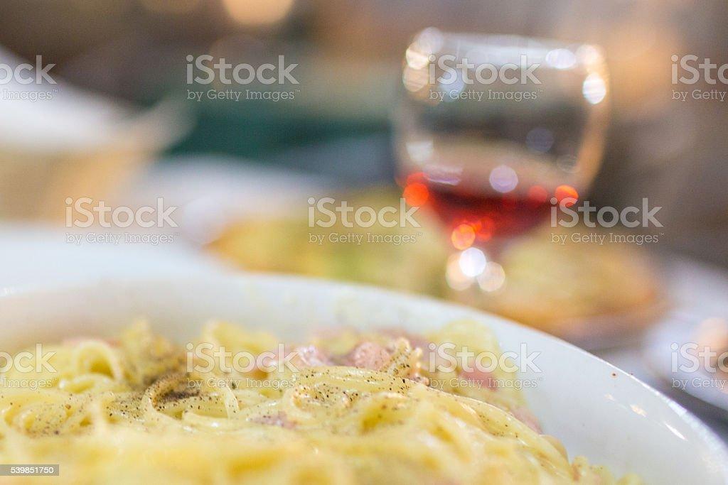 Spaghetti Carbonara stock photo