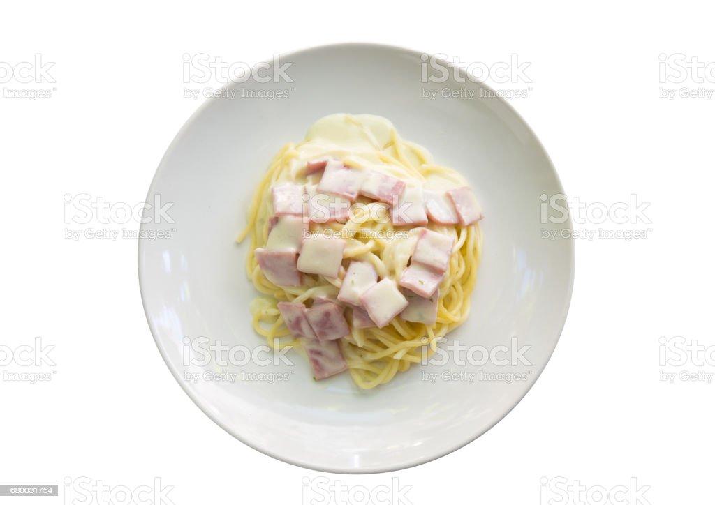 Spaghetti Carbonara with bacon isolated on white background stock photo
