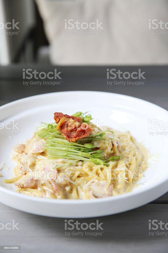 spaghetti carbonara with bacon stock photo