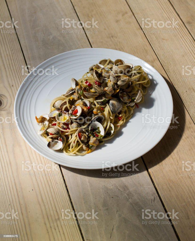 Spaghetti con le Vongole. - foto de stock