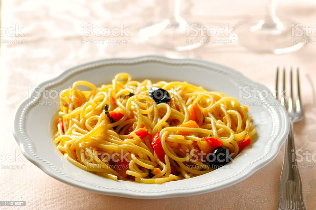 Spaghetti Dinner for One royalty-free stock photo
