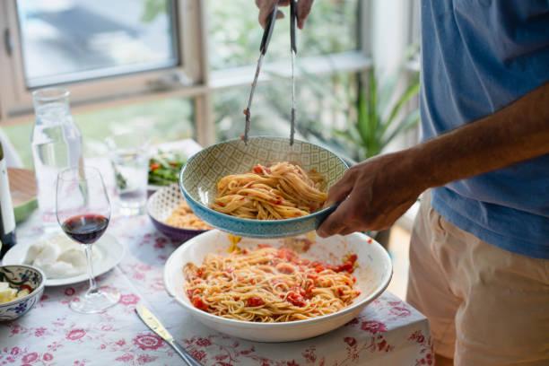 Spaghetti for dinner stock photo
