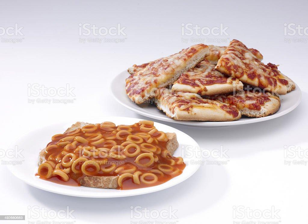 Spaghetti hoops and pizza stock photo
