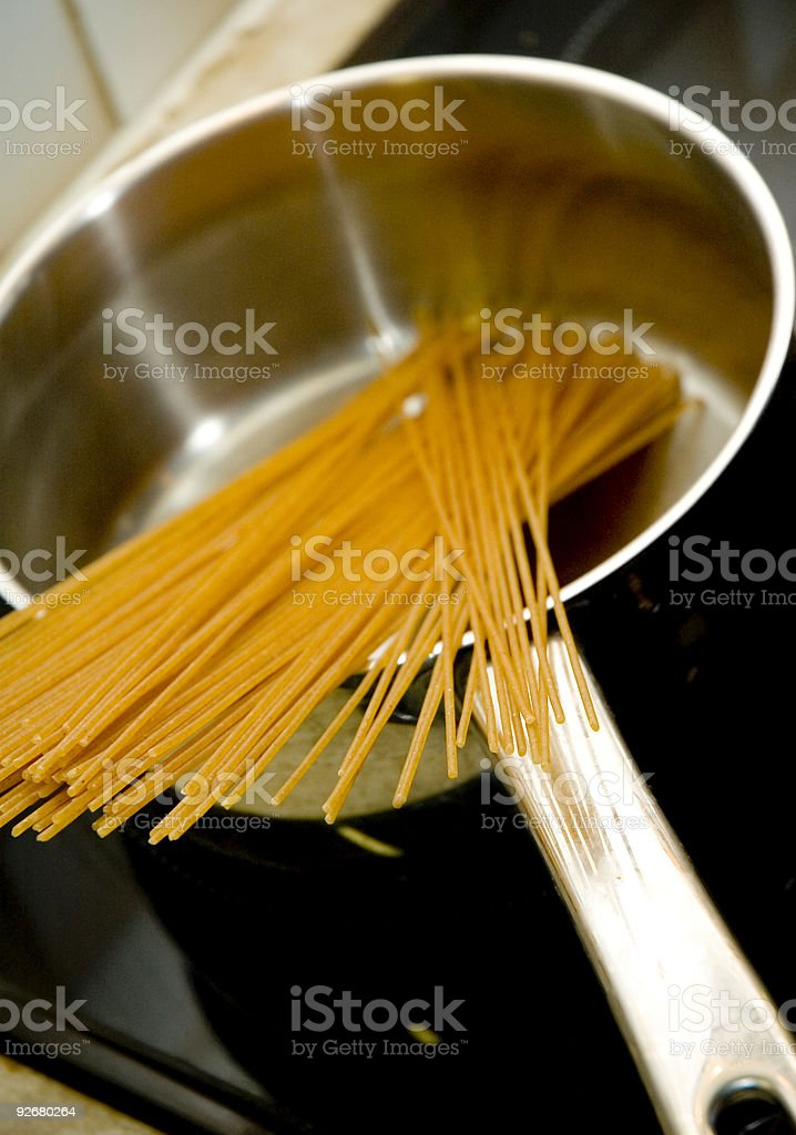 Spaghetti in pan royalty-free stock photo