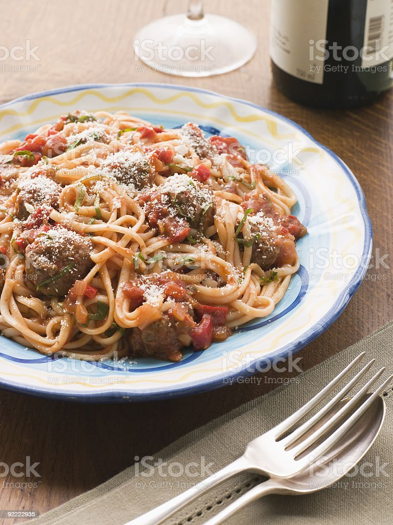 Spaghetti Meatballs in Tomato sauce with Parmesan royalty-free stock photo