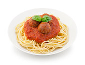 Spaghetti Meatballs on Plate isolated on white (excluding the shadow)