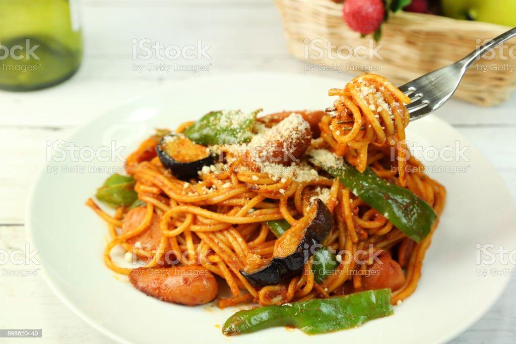 Spaghetti of the tomato source stock photo