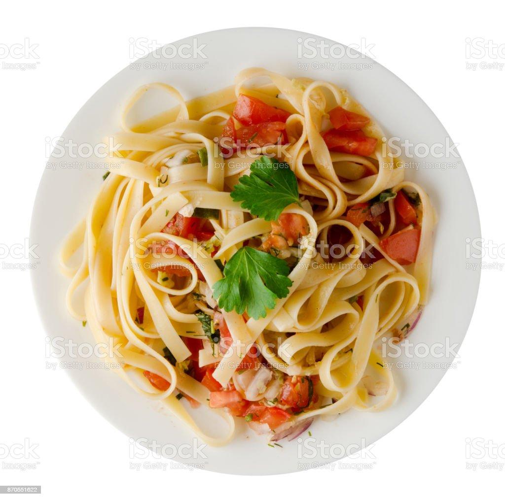 spaghetti on a plate stock photo