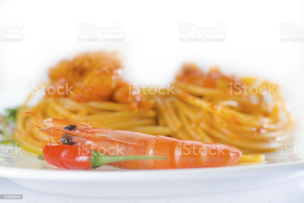 spaghetti pasta and fresh spicy shrimps sauce royalty-free stock photo