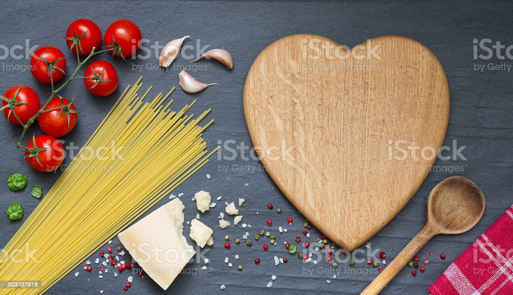 Spaghetti pasta ingredients abstract food background stock photo