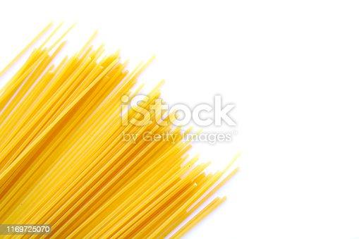 spaghetti pasta on white background