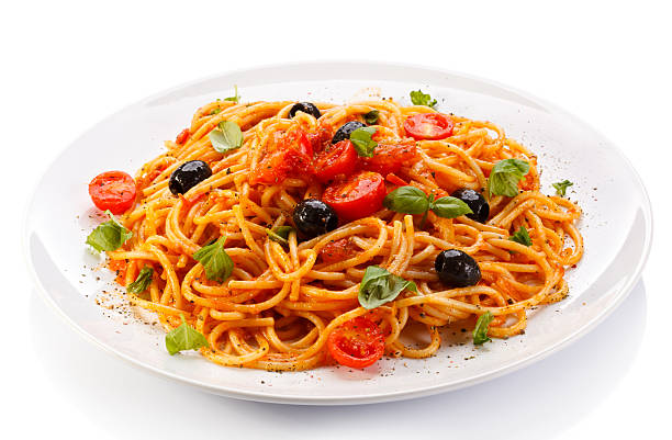 Spaghetti pasta with meat, tomato sauce and parmesan stock photo