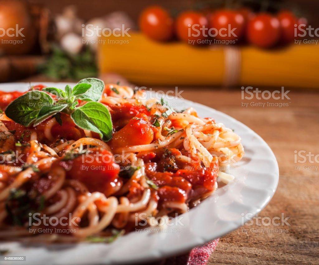Spaghetti pasta with meatballs stock photo