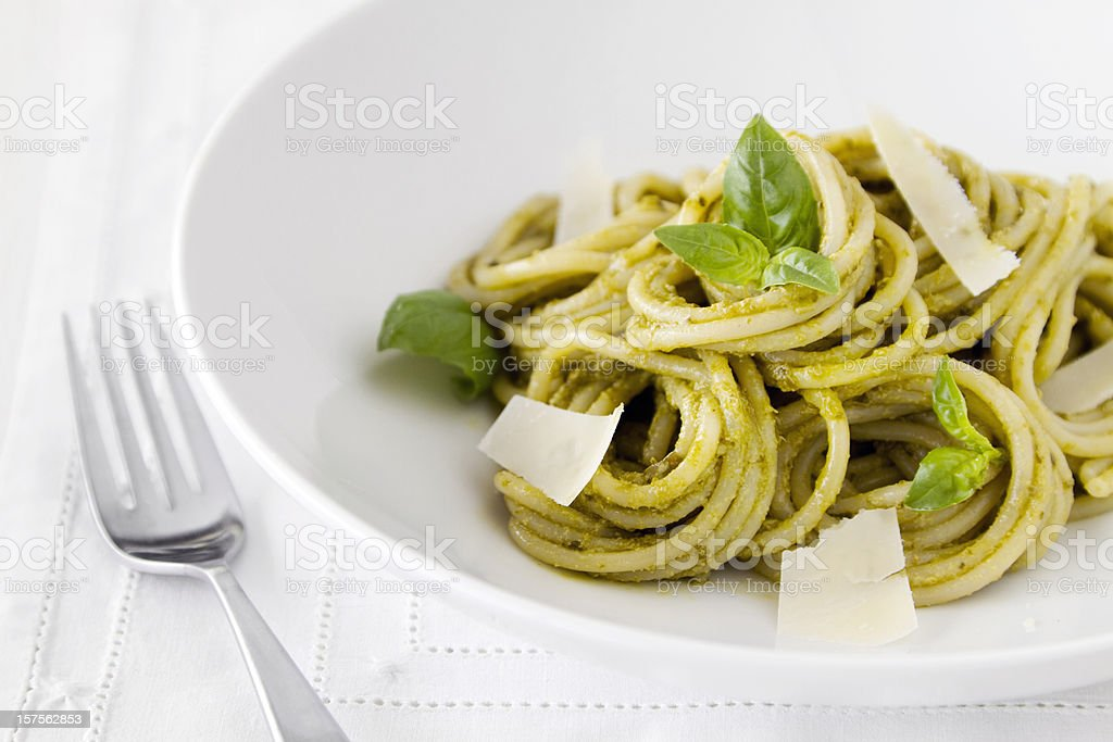 Spaghetti Pasta with Pesto Sauce royalty-free stock photo