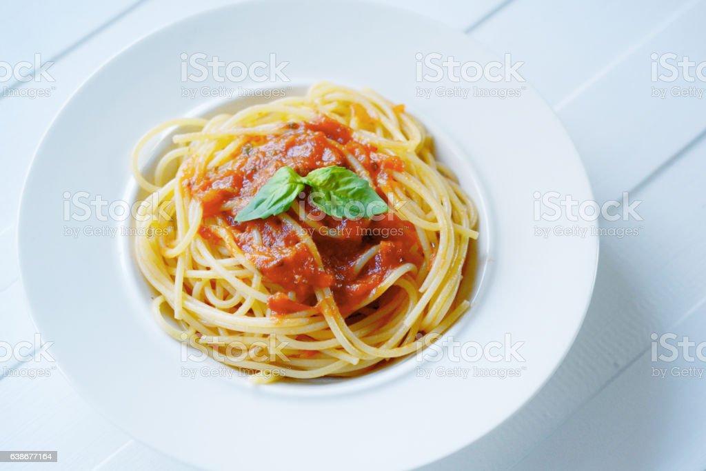 spaghetti pasta with tomato sauce. stock photo