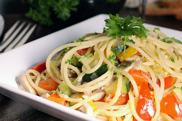 Spaghetti A dish of fresh pasta primavera in white plate primavera stock pictures, royalty-free photos & images